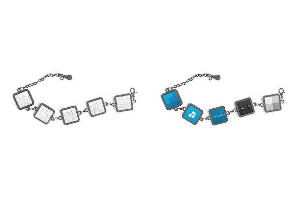 5 Metal Plate Square Bracelet Mockup