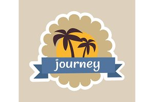Journey Cute Colorful Poster Vector Illustration