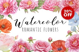 20%OFF! Watercolor Romantic Flowers