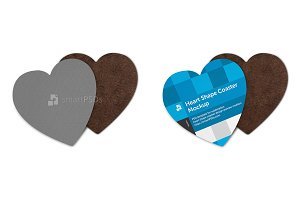 Heart Shape Coasters Design Mockup