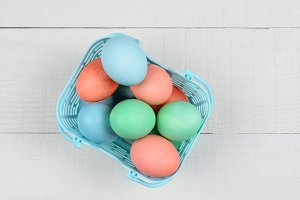 Dyed Eggs in Plastic Basket