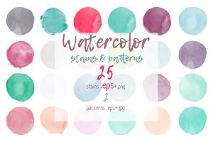 Watercolor stains & patterns set