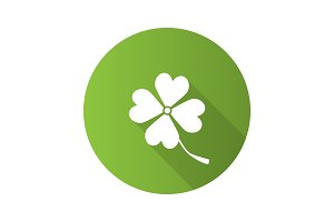 Four leaf clover flat design long shadow glyph icon