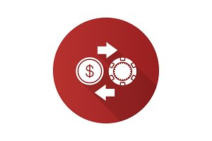 Real money casino flat design long shadow glyph icon