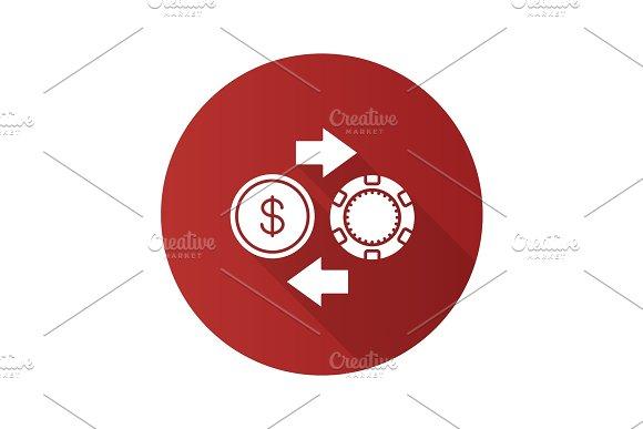 Real Money Casino Flat Design Long Shadow Glyph Icon