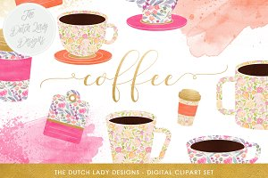 Watercolor Coffee Cup Clipart Set