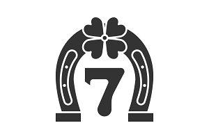Lucky seven game glyph icon