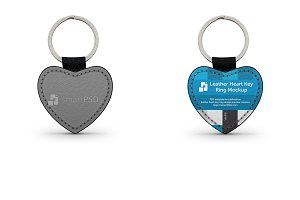 Heart Shape Leather Keyring Mockup