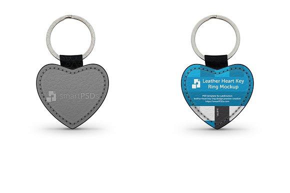 Heart Shape Leather Keyring Mockup