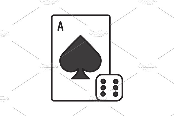 Dice And Playing Card Color Icon