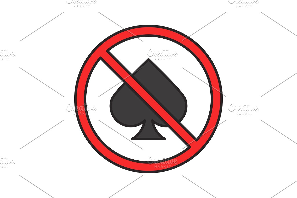 Forbidden sign with spade card suit color icon