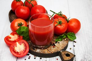 Glasses with tomato juice
