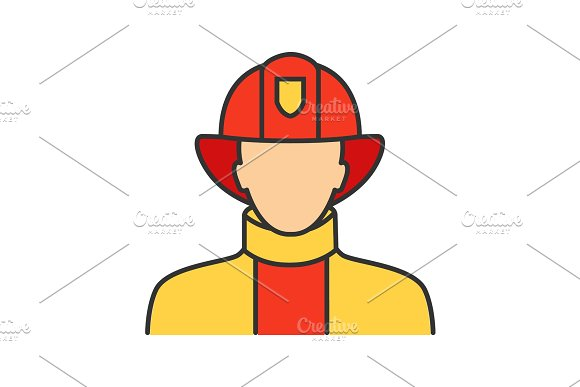 Firefighter color icon