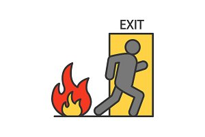 Fire emergency exit door with human color icon
