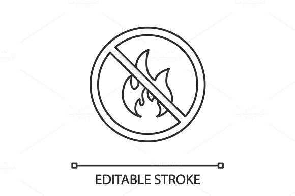 Forbidden sign with fire linear icon