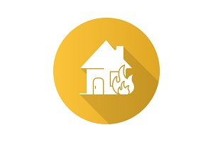 Burning house flat design long shadow glyph icon