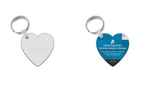 Heart Shape Keyring Design Mockup