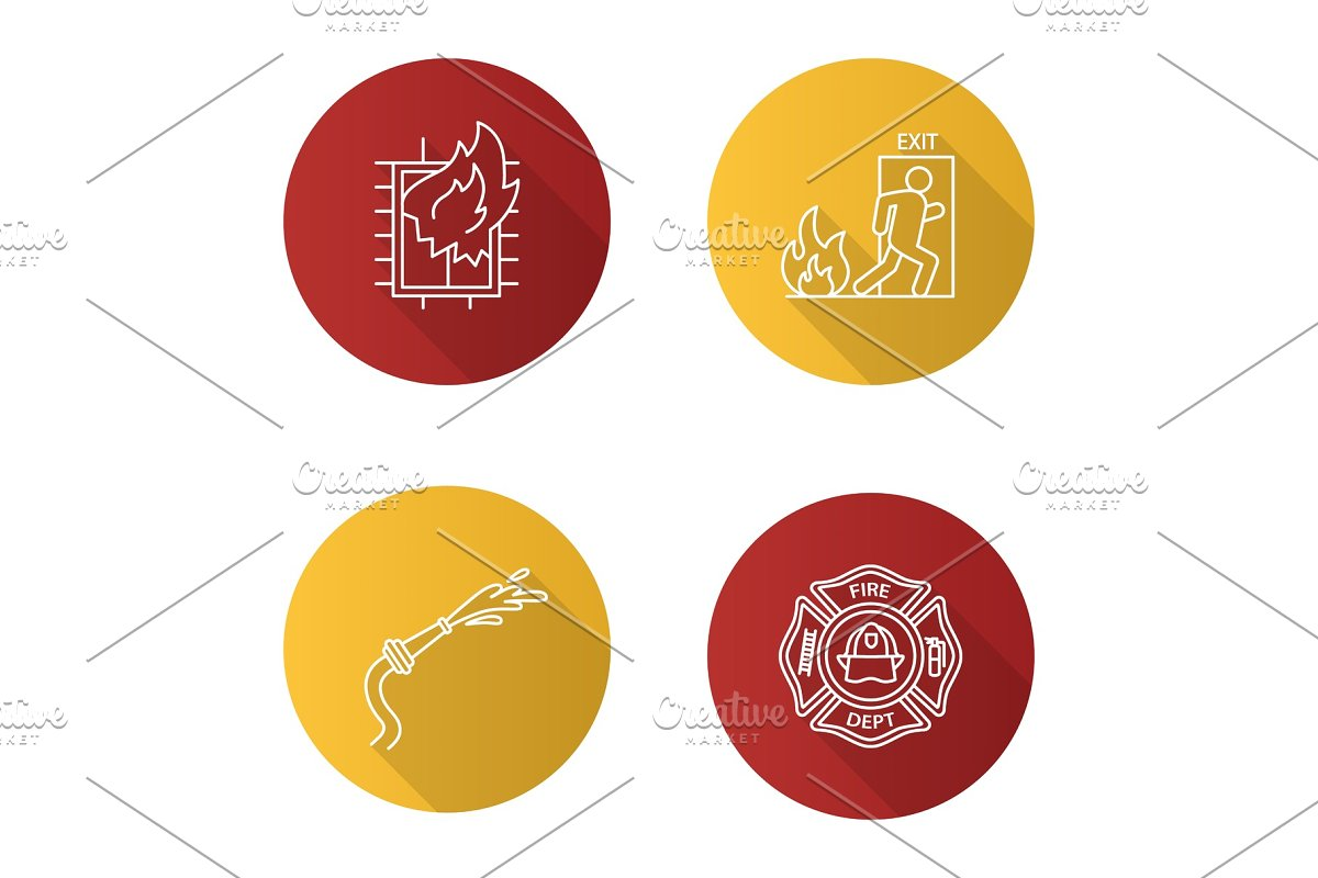 Firefighting flat linear long shadow icons set in Graphics - product preview 8