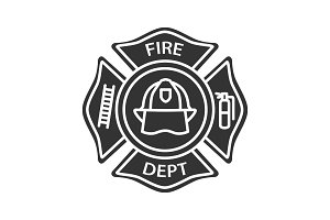 Fire department badge glyph icon