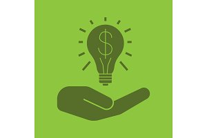 Open hand with light bulb and dollar sign glyph color icon
