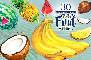 Watercolor Summer Patterns Fruits