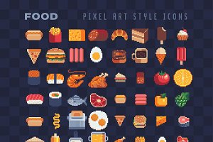 Food pixel art icons set