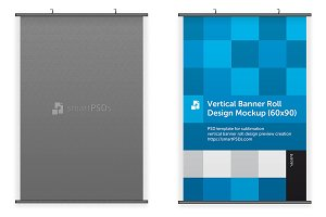Vertical Banner Roll Design Mockup