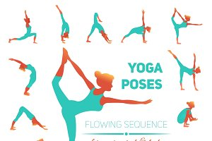 Yoga poses icons set