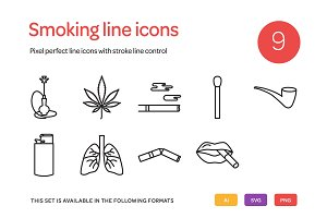 Smoking Line Icons Set
