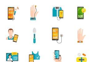 Digital health flat icons set