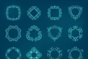 Swirl outline monogram set