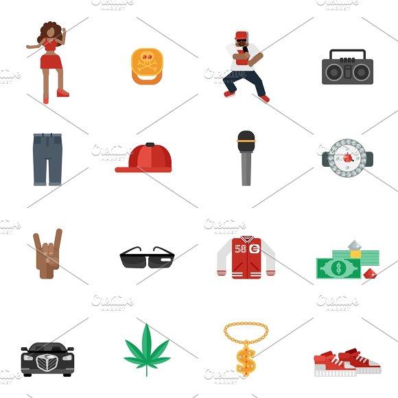 Rap And Hip-hop Music Icons Set