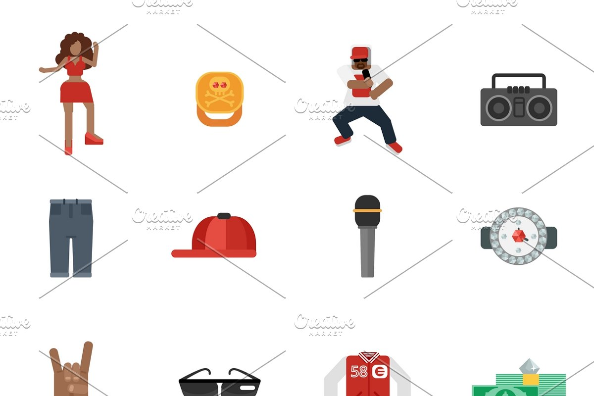 Rap and hip-hop music icons set