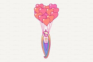 ♥ vector Cute rainbow unicorn