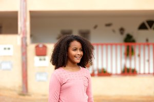 Beautiful small girl with afro hair