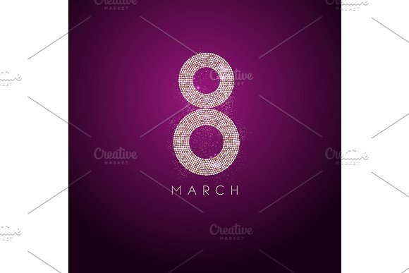 March 8 Gold Glow Glitter Effect