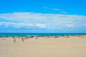 Crowded beach on a hot summer