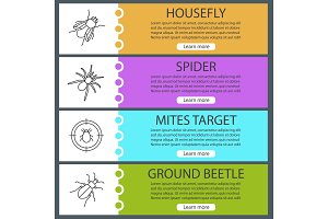 Pest control web banner templates set