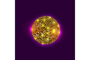 Golden disco ball. Vector