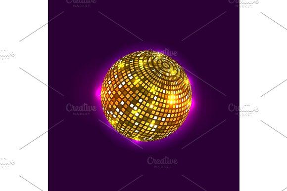 Golden disco ball. Vector