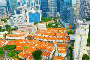 Aerial view of a Chinatown of Singap