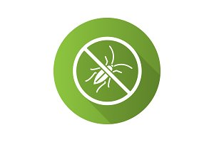 Stop cockroaches sign flat design long shadow glyph icon