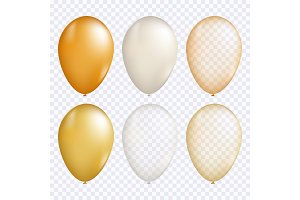 Gold balloon vector set