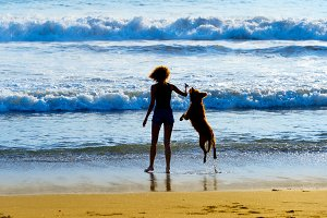 Woman playing with a dog on beach