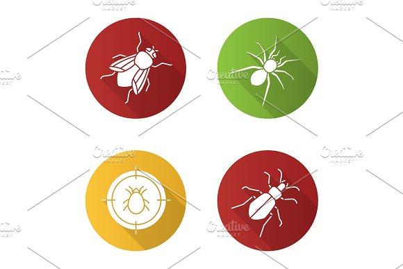 Pest Control Flat Design Long Shadow Glyph Icons Set