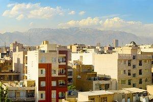 Tehran city architecture at sunset.
