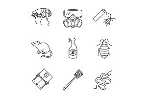 Pest control linear icons set