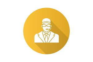 Security guard flat design long shadow glyph icon