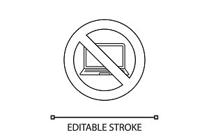 Forbidden sign with laptop linear icon