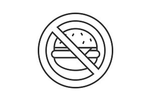 Forbidden sign with hamburger linear icon